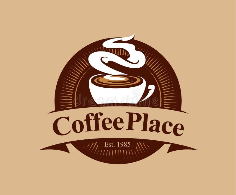 Kaffeställelogo stock illustrationer