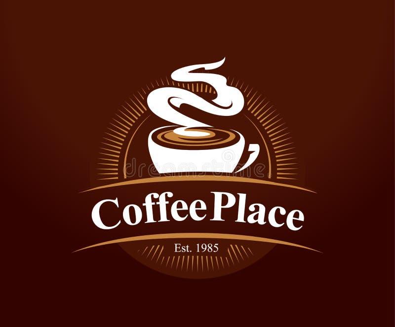 Kaffeställelogo royaltyfri illustrationer