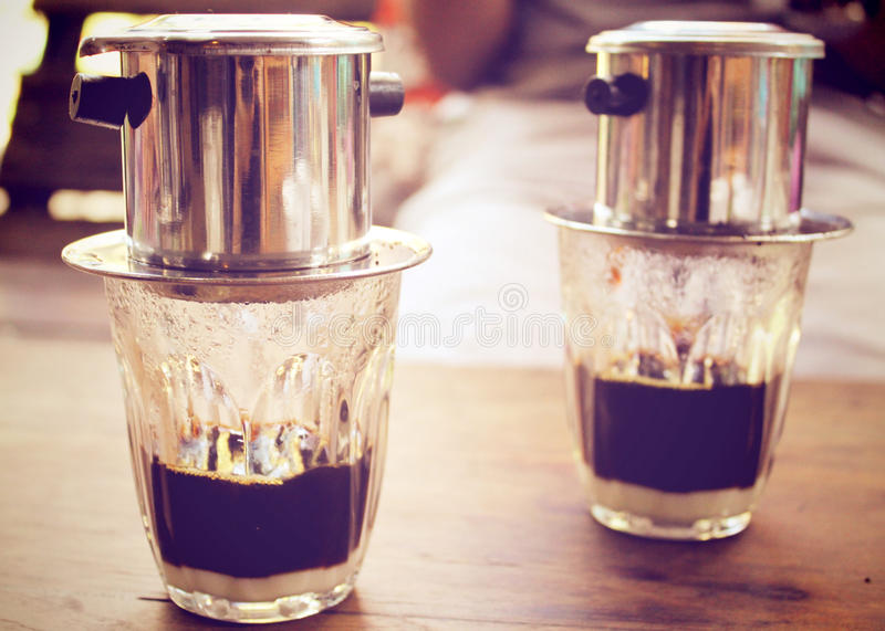 Kaffestekflott i vietnamesisk stil, retro filter royaltyfri fotografi