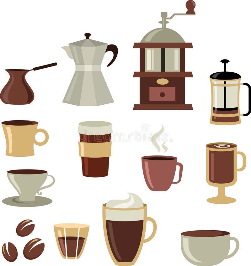 Kaffesymboler/inställd logo - 3 stock illustrationer