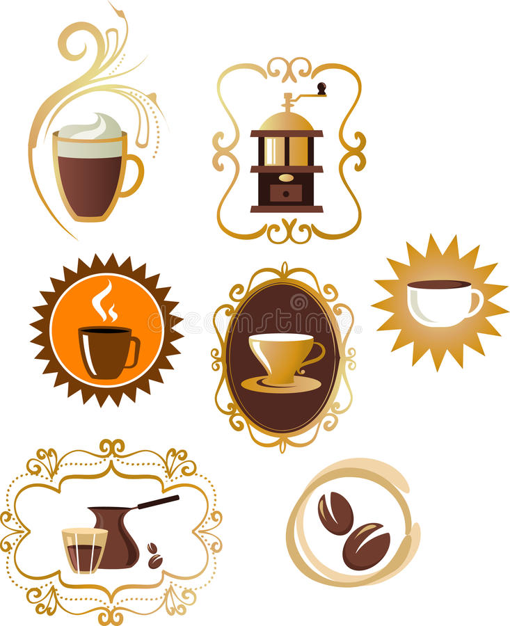 Kaffesymboler/inställd logo - 4 stock illustrationer