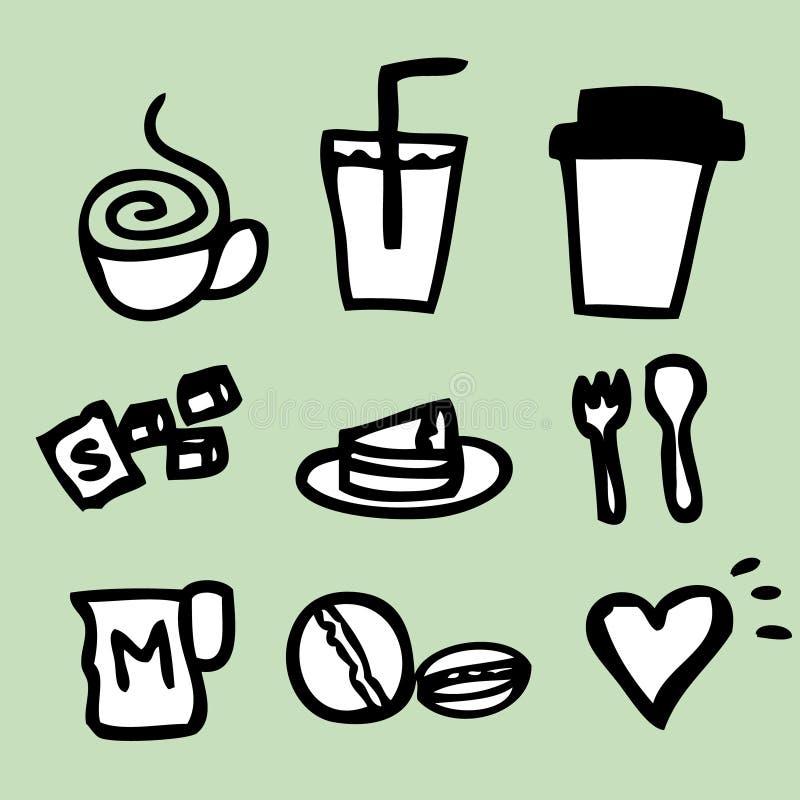 Kaffesymbolsteckning vektor illustrationer