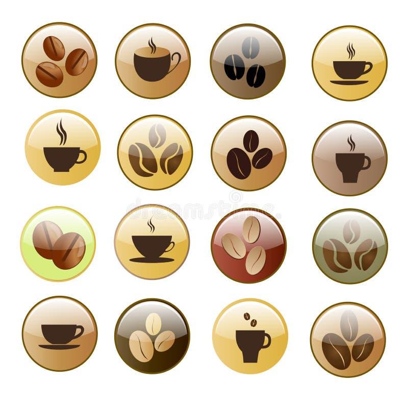 Kaffesymbolsuppsättning vektor illustrationer