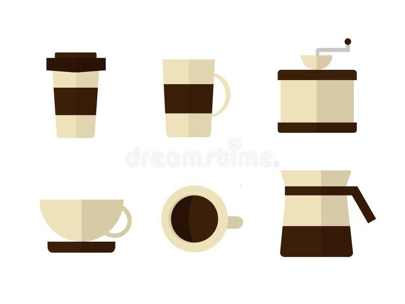 Kaffesymbolsuppsättning royaltyfri illustrationer