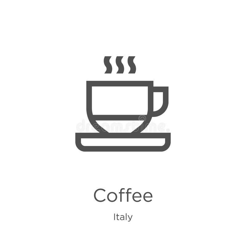 kaffesymbolsvektor från den Italien samlingen Tunn linje illustration f?r vektor f?r kaffe?versiktssymbol Översikt tunn linje kaf stock illustrationer