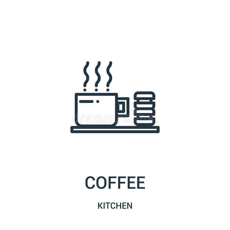 kaffesymbolsvektor från köksamling Tunn linje illustration för vektor för kaffeöversiktssymbol Linjärt symbol för bruk på rengöri royaltyfri illustrationer
