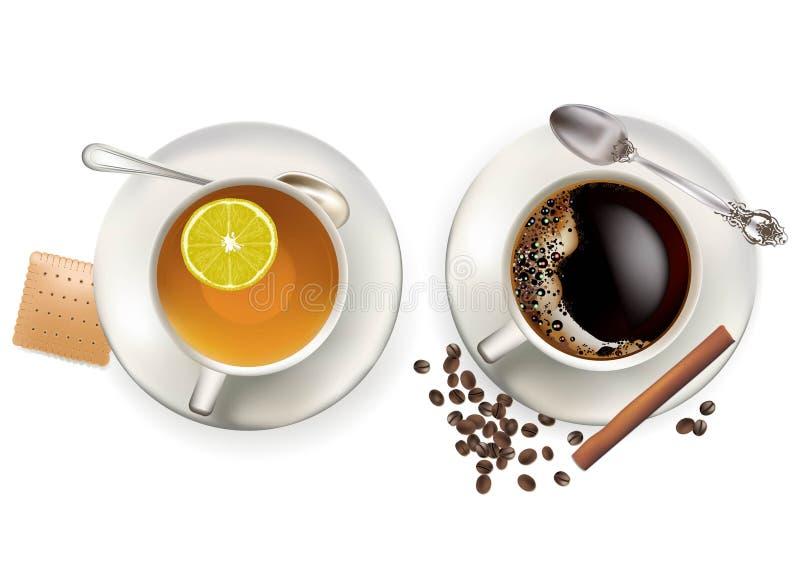 kaffetea royaltyfri illustrationer