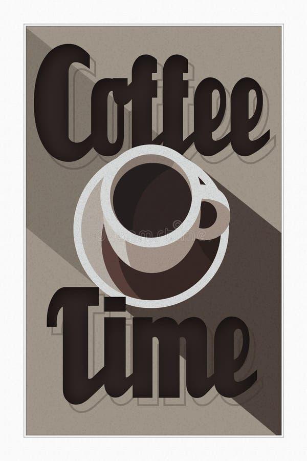 KaffeTid affisch Art Deco royaltyfri illustrationer