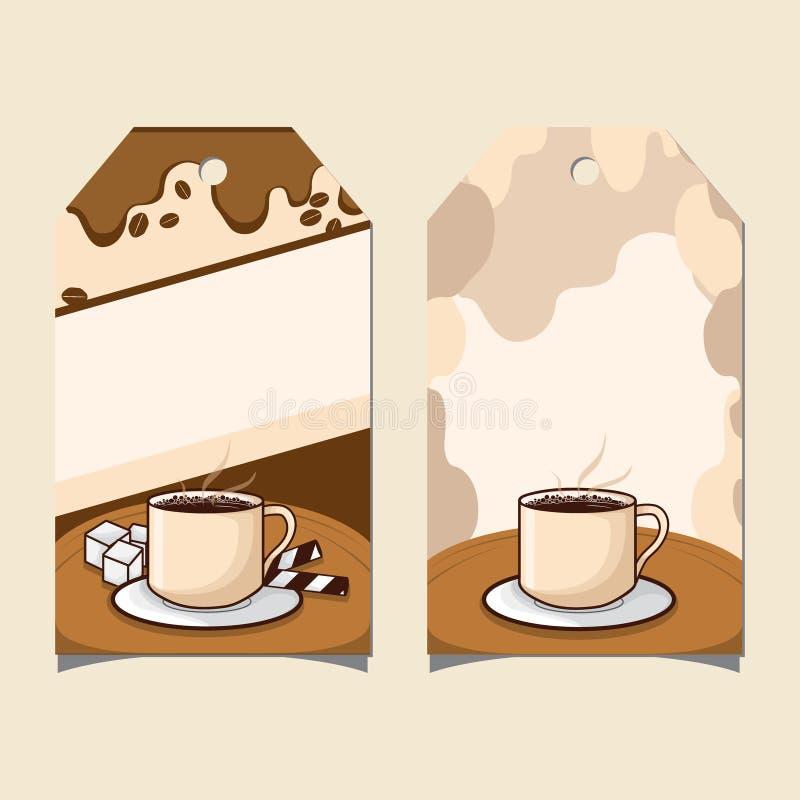Kaffetid av etikettstyper vektor illustrationer