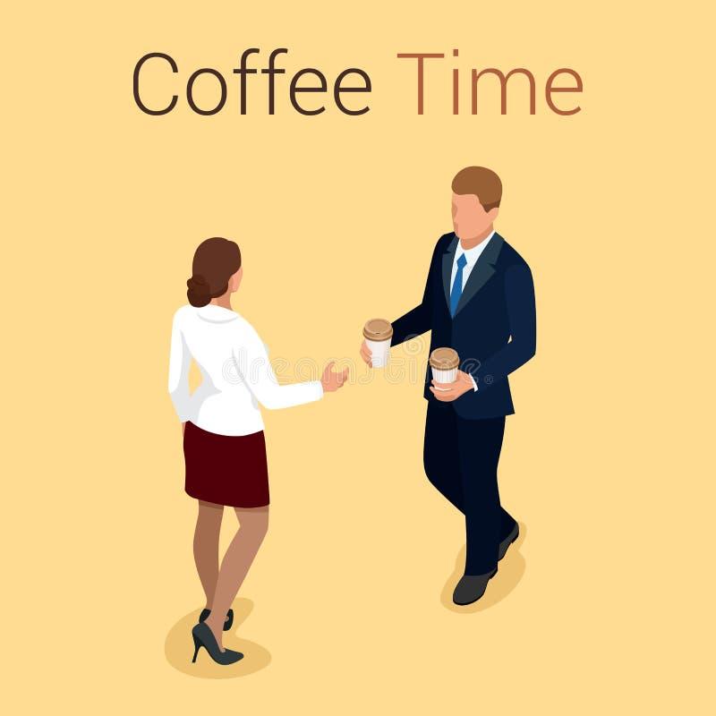 Kaffetid eller kaffeavbrott stock illustrationer