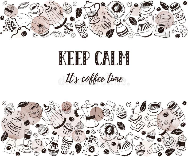 Kaffetidaffisch royaltyfri illustrationer