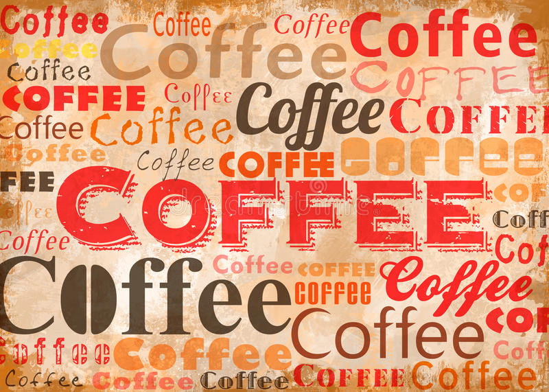 KaffeTypoCollage stock illustrationer