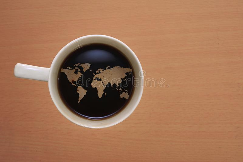 Kaffevärldskartor sammanfogar arkivfoto