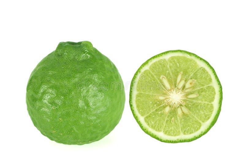 Kaffir lime Bergamot isolated on white background. Kaffir lime Bergamot isolated on white stock images