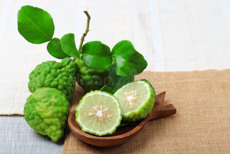 Kaffir lime or bergamot. On sack background stock images