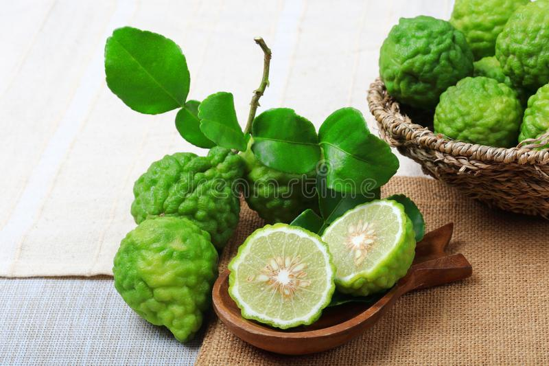 Kaffir lime or bergamot. On sack background stock photography