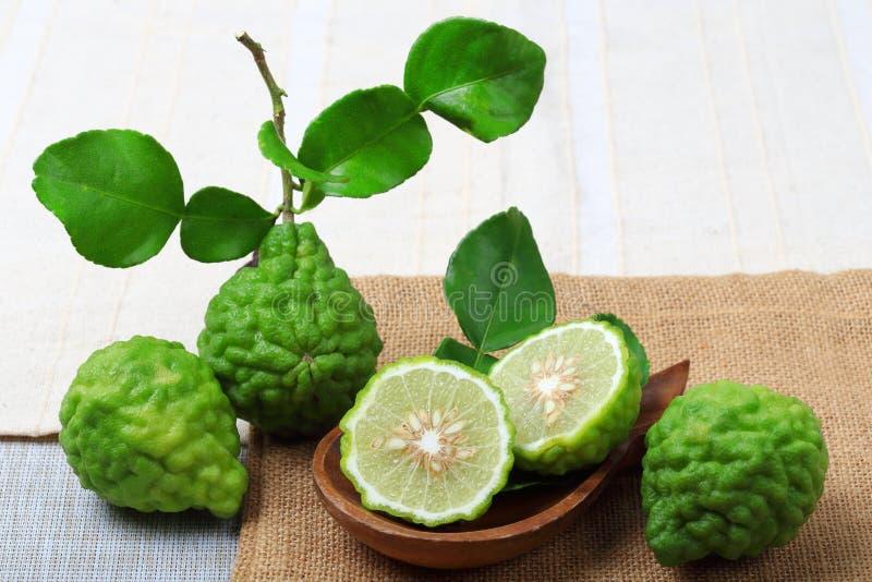 Kaffir lime or bergamot. On sack background stock photo
