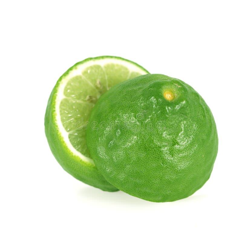 The Kaffir lime Bergamot sliced isolated on white background. Kaffir lime Bergamot sliced isolated on white background stock photography