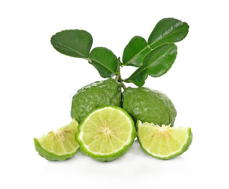 Kaffir lime isolated on white background. royalty free stock photos