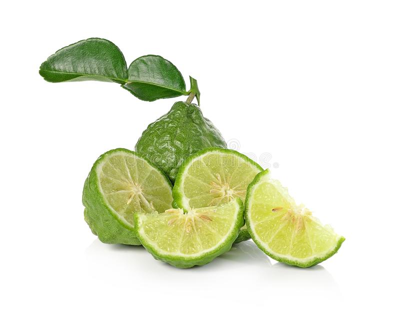 Kaffir lime isolated on white background. stock image