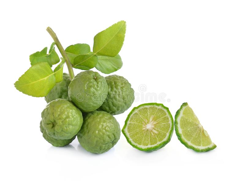 Kaffir lime on white background royalty free stock image