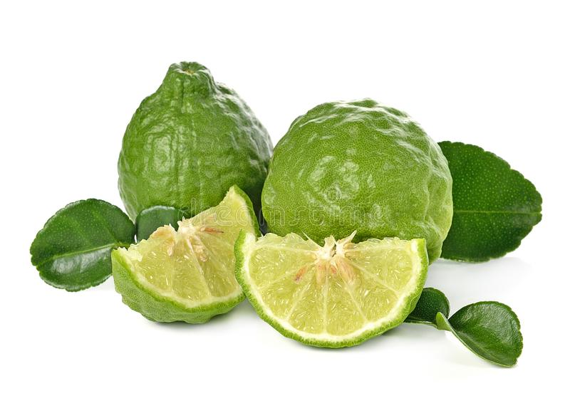 Kaffir lime on white background stock photography