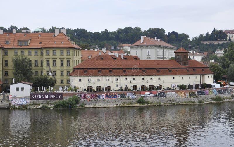 Kafka Museum from Mala Strana of Prague over Vltava river in Czech Republic royalty free stock photography