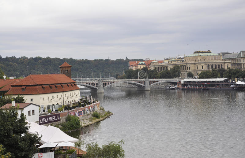 Kafka Museum and Prague Panorama over Vltava river in Czech Republic stock image