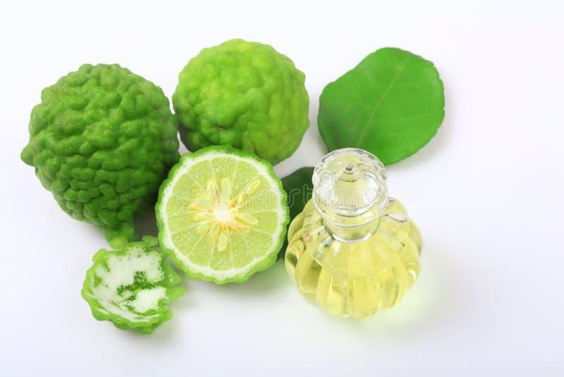 Kafr bergamota z aromatycznym zdrojem butelka istotny olej odizolowywający lub wapno zdjęcie stock