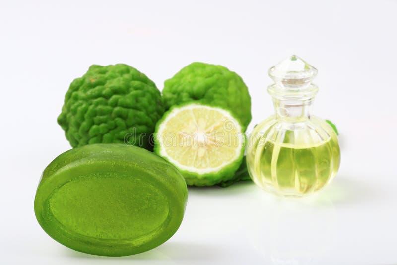 Kafra wapno lub bergamoty mydło z aromatycznym zdrojem butelka istotny olej odizolowywający obraz royalty free