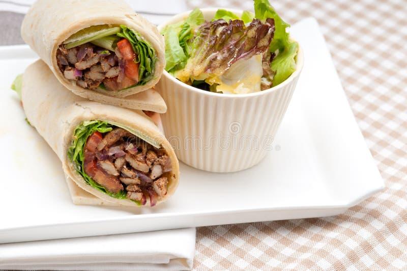 Kafta shawarma kurczaka pita opakunku rolki kanapka fotografia royalty free