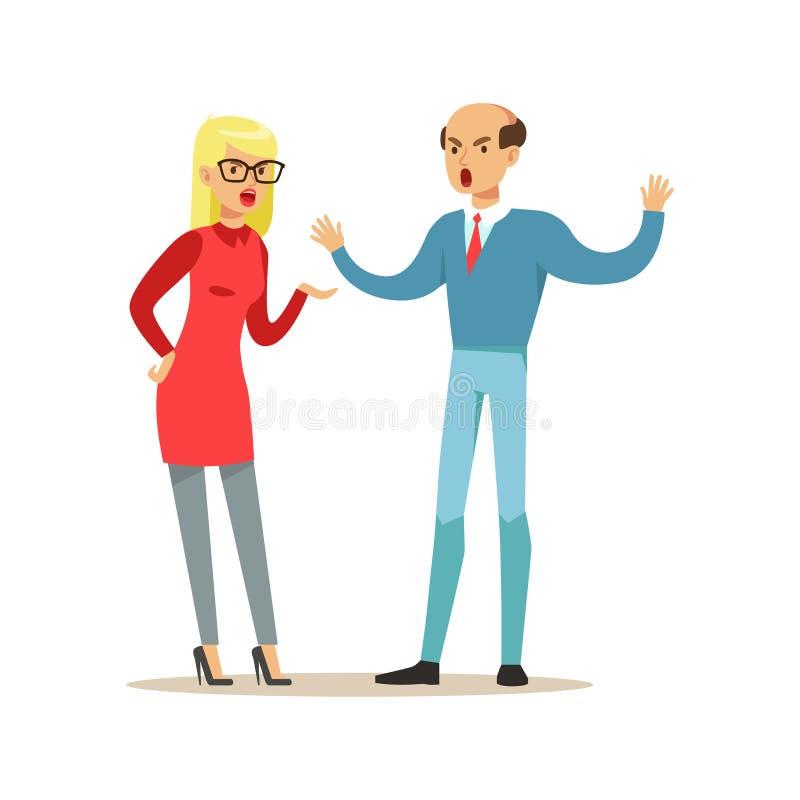 Kahle Mann- und Blondinecharaktere, die auf einander, negative Gefühlkonzept-Vektor Illustration argumentieren und schreien lizenzfreie abbildung