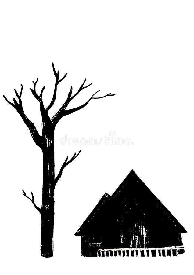 Kahler Baum und ein Dorfhaus Fu?weg im Holz Einfarbige Schwarzweiss-Illustration lizenzfreie abbildung