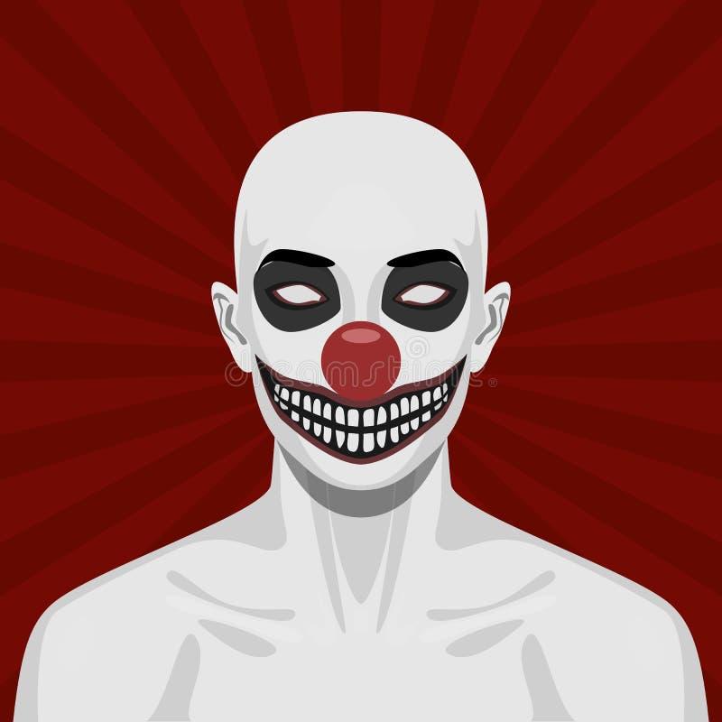 Kahler furchtsamer Clown mit lächelndem Gesicht vektor abbildung