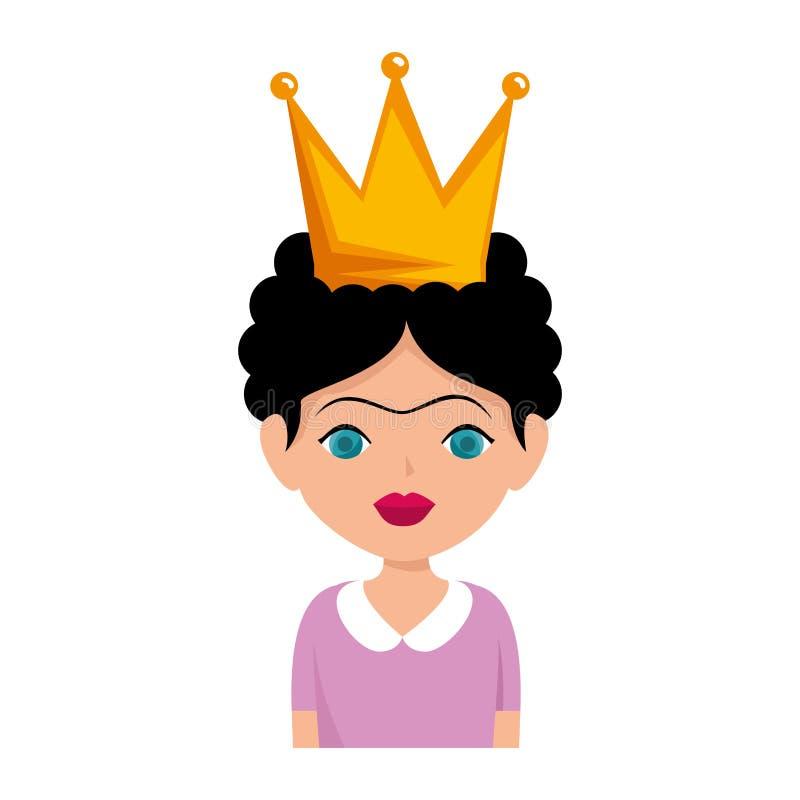 Kahlo de Frida con la corona stock de ilustración