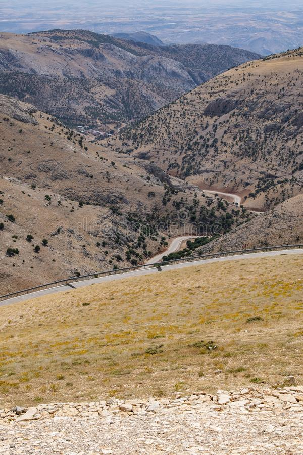 Nemrut Dagi, Mount Nemrut, Kahta, Turkey, Middle East, road, landscape, sanctuary, tomb, King Antiochus I of Commagene. Kahta, Turkey, Middle East: the landscape royalty free stock image