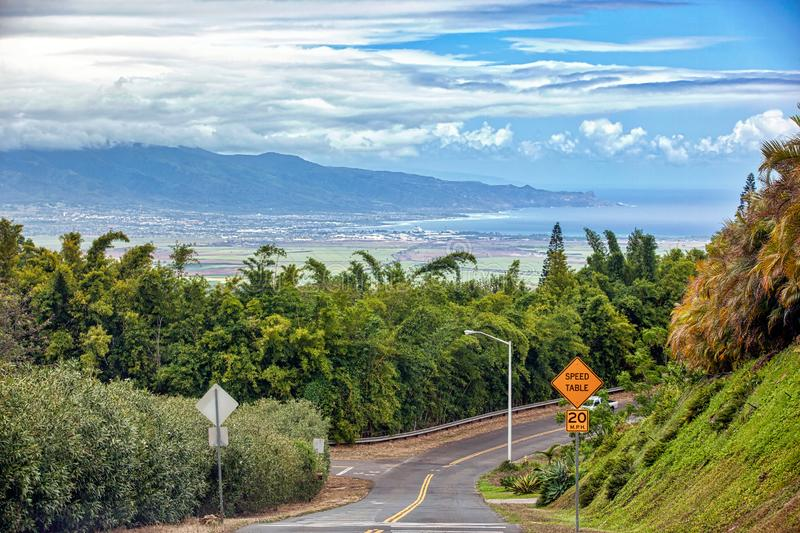 Kahului and West Maui Mountains from Up Country Maui. View of Kahului and the West Maui Mountains from Up Country on Maui, Hawaii stock photos