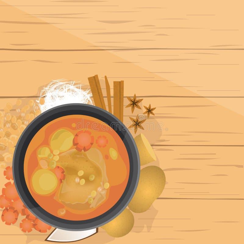 Kai di Mussaman, curry tailandese di Mussaman del pollo, con gli ingredienti illustrazione di stock