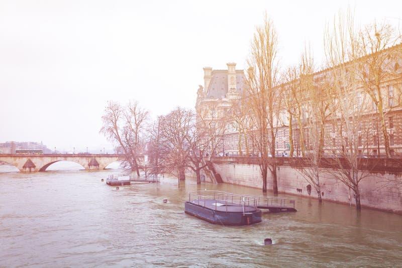 Kai von der Seine im Winter, Paris, Frankreich stockbild