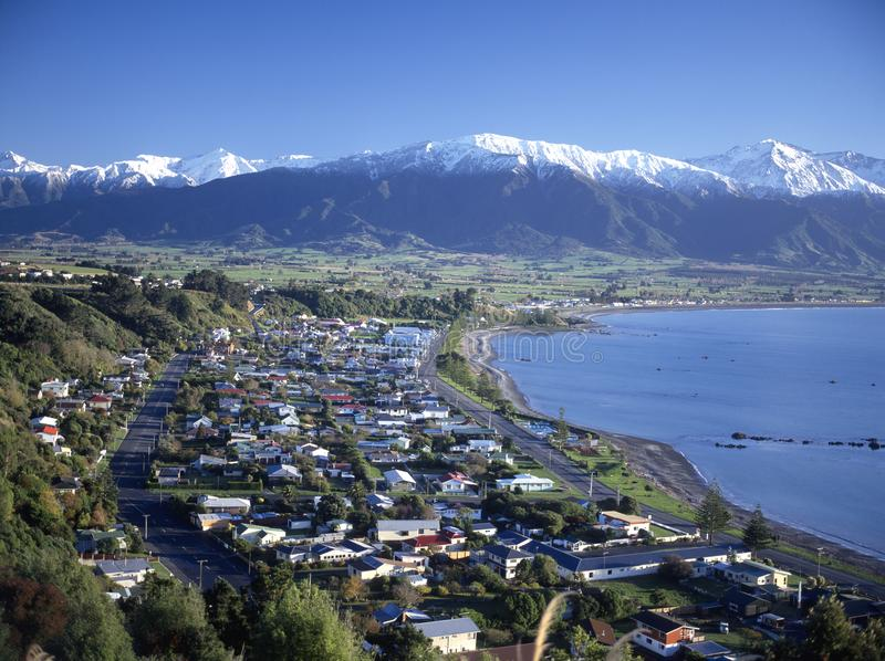 Kaikoura, an east coast town on the south island of New Zealand. Near the alps stock photo