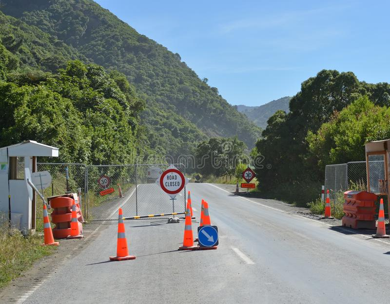 Checkpoint at Ohau Point Kaikoura on Road Opening Day royalty free stock photos