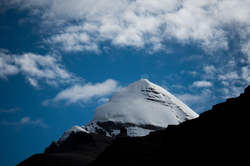 Kailas Himalayas Mountain Tibet Home Of The Lord Shiva. Kailash - the holiest mountain of Tibet. Object of pilgrimage of buddhist, hindu, jains and adepts of bon stock images