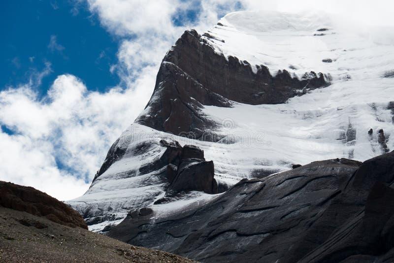 Kailas Himalayas Mountain Tibet Home Of The Lord Shiva. Kailash - the holiest mountain of Tibet. Object of pilgrimage of buddhist, hindu, jains and adepts of bon royalty free stock photos