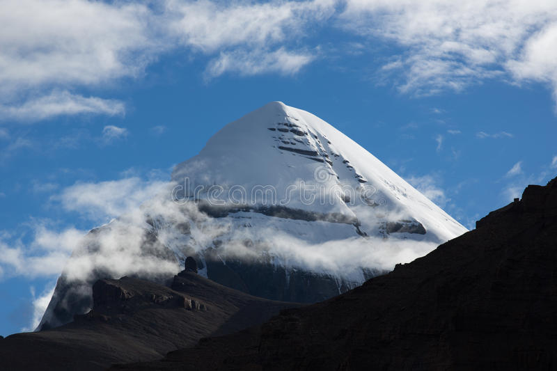 Kailas Mountain Tibet Home Of The Lord Shiva. Kailash - the holiest mountain of Tibet. Object of pilgrimage of buddhist, hindu, jains and adepts of bon religion stock image