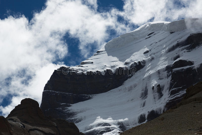 Kailas Mountain Tibet Home Of The Lord Shiva. Kailash - the holiest mountain of Tibet. Object of pilgrimage of buddhist, hindu, jains and adepts of bon religion stock images
