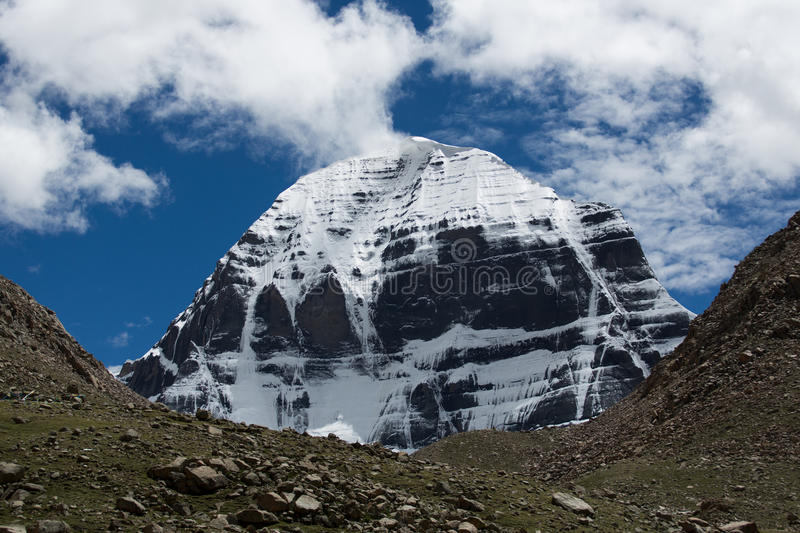 Kailas Mountain Tibet Home Of The Lord Shiva. Kailash - the holiest mountain of Tibet. Object of pilgrimage of buddhist, hindu, jains and adepts of bon religion royalty free stock image