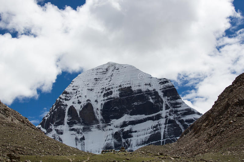 Kailas Mountain Tibet Home Of The Lord Shiva. Kailash - the holiest mountain of Tibet. Object of pilgrimage of buddhist, hindu, jains and adepts of bon religion royalty free stock photo