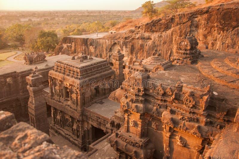 Kailasa寺庙复合体日落视图从上面 库存照片