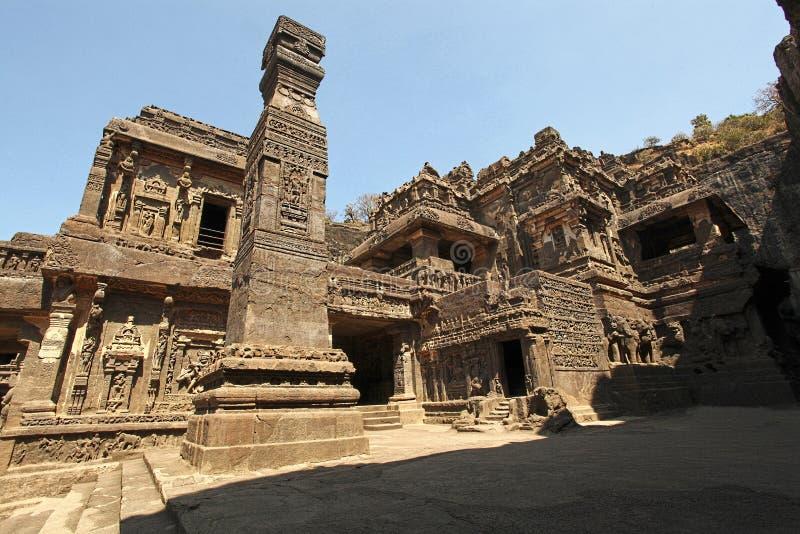 Kailasa ciąć antyczne Hinduskie świątynie lokalizować w Ellora zdjęcie royalty free
