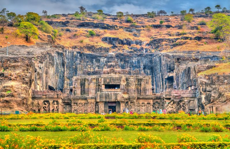 The Kailasa temple, the biggest temple at Ellora Caves. UNESCO world heritage site in Maharashtra, India. The Kailasa temple, the largest temple at Ellora Caves royalty free stock photos